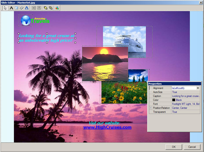 image editor online transparent. Slide Editor allows you to add small images, text boxes and web links.